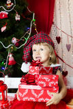 Cute child in santa hat Royalty Free Stock Image