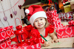 Cute child in santa hat Royalty Free Stock Photo