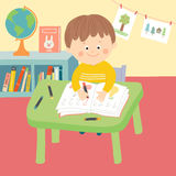 Cute child in school classroom sitting at desk and writing. Children drawing in art class. Cartoon  hand drawn eps 10 illustration in flat style Royalty Free Stock Images