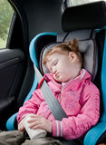 Cute child sleeping in a car Stock Photography