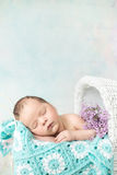 Cute Child Sleeping In The Carriage Stock Photography