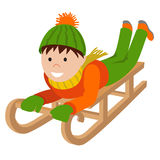 Cute child on snow sledding. Vector illustration isolated white background Royalty Free Stock Images