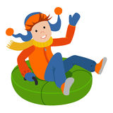 Cute child on snow tubing. Vector illustration isolated  white background. Cute child on snow tubing. Vector illustration Royalty Free Stock Images
