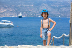 Cute child, standing on a path around mediterranean sea on Frenc Royalty Free Stock Photography