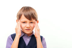 Cute child suffering from headache Stock Photography