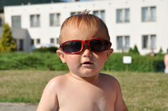 Cute child with sunglasses Stock Photo