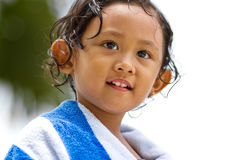 Cute child in towel blanket after swimming Royalty Free Stock Images