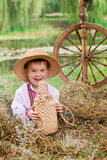 Cute child in traditional eastern european clothes Royalty Free Stock Photo