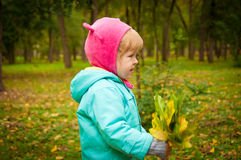 Cute child walking in autumn park Stock Photos