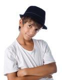Cute child wearing fedora hat Royalty Free Stock Photos