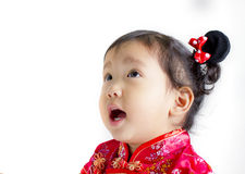 Cute child wearing red Chinese suit Royalty Free Stock Image