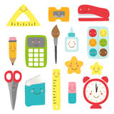 Cute childish Back to School supplies as smiling cartoon characters. For your decoration Royalty Free Stock Images
