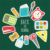 Cute childish Back to School supplies as smiling cartoon characters Stock Image