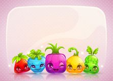 Cute childish banner. With funy colorful cartoon plant monsters. Vector illustration royalty free illustration