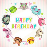 Cute childish Birthday card template Stock Image