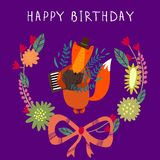 Cute childish card with Fox in . Happy birthday invitation Stock Images