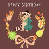 Cute childish card with Raccoon in . Happy birthday invita Royalty Free Stock Images