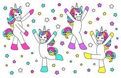 Cute childish cartoon characters as magic rainbow hair unicorn Stock Image