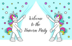 Cute childish cartoon characters as magic rainbow hair unicorn Stock Photo