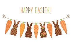 Cute childish Easter bunting with bunnies and carrots and hand written text Stock Image