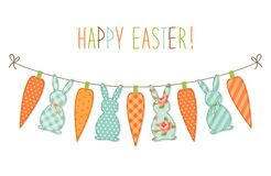 Cute childish Easter bunting with bunnies and carrots and hand written text Royalty Free Stock Image