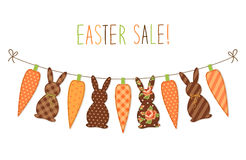 Cute childish Easter bunting with bunnies and carrots and hand written text Stock Photo