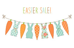 Cute childish Easter bunting with bunnies and carrots and hand written text Royalty Free Stock Photo