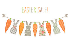 Cute childish Easter bunting with bunnies and carrots and hand written text Royalty Free Stock Photography