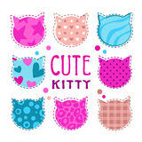 Cute childish illustration with cat heads Royalty Free Stock Image