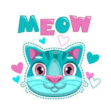 Cute childish print with cat face and hearts. Vector template for t shirt print design Royalty Free Stock Images