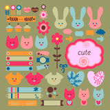 Cute childish scrapbook elements Royalty Free Stock Photo