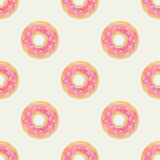 Cute and childish seamless background with pink donuts. Stock Photography