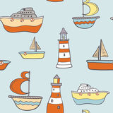 Cute childish seamless background with ships. Boats and lighthouses. Boy texture. Cute fully editable travel illustration drawn in vector by hand Stock Photo