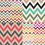 Different classic retro color combinations of zig zag textured stock vector pattern royalty free illustration