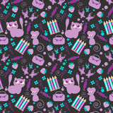Cute childish seamless pattern. With animals stock illustration