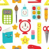 Cute childish seamless pattern Back to School supplies as smiling cartoon characters. For your decoration royalty free illustration