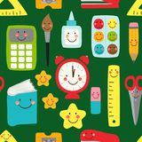 Cute childish seamless pattern Back to School supplies as smiling cartoon characters Stock Images