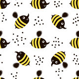 Cute childish seamless pattern with bee. Perfect for kids fabric, textile, wrapping. Vector background in scandinavian style. Royalty Free Stock Photography