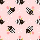 Cute childish seamless pattern with bee. Perfect for kids fabric, textile, wrapping. Vector background in scandinavian style. Royalty Free Stock Images