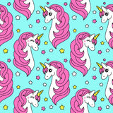 Cute childish seamless pattern with cartoon character of magic unicorn. Can be used for kids fabrics design as bed linen, baby clothing as pajamas etc Stock Photos