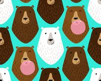 Cute childish seamless pattern with cartoon characters of different bears and bubble gum Royalty Free Stock Photography