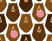 Cute childish seamless pattern with cartoon characters of different bears and bubble gum Stock Photography
