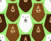 Cute childish seamless pattern with funny hand drawn cartoon characters of different bears Stock Images