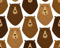 Cute childish seamless pattern with funny hand drawn cartoon characters of different bears Stock Photos