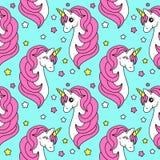 Cute Childish Seamless Pattern With Cartoon Character Of Magic Unicorn Stock Photos