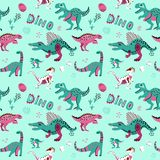 Cute childish seamless vector pattern with dinosaurswith eggs, decor and words dino. Funny cartoon dino. Hand drawn doodle design. For girls, kids. Children`s stock illustration