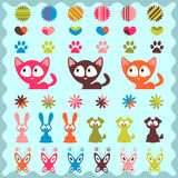 Cute childish stickers. A set of cute childish stickers Royalty Free Stock Photo