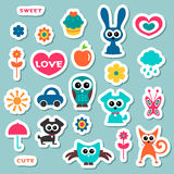 Cute childish stickers Stock Image