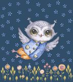 Cute childish watercolor owl, floral background stock illustration