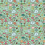 Cute childlike seamless pattern. With various elements Stock Images